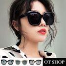 OT SHOP太陽眼鏡‧時尚歐美明星款‧街頭穿搭配件百搭粗框V字裝飾‧米白/玳瑁/黑色‧現貨三色‧Q22