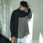 襯衫港風bf男士ins超火的長袖襯衫韓版潮流寬鬆格子襯衣秋 海角七號