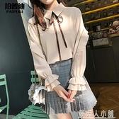 新款小眾襯衫設計感很仙的復古港味上衣女衫洋氣輕熟春裝法式 「錢夫人小鋪」