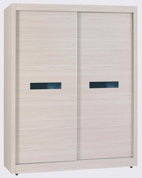 【森可家居】夏緹絲5尺衣櫃 7JX33-10 衣櫥 左右推拉門 木紋質感 無印北歐風