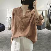 棉麻上衣 v領棉麻襯衫女式長袖寬鬆大碼顯瘦套頭大款復古文藝亞麻上衣  都市時尚