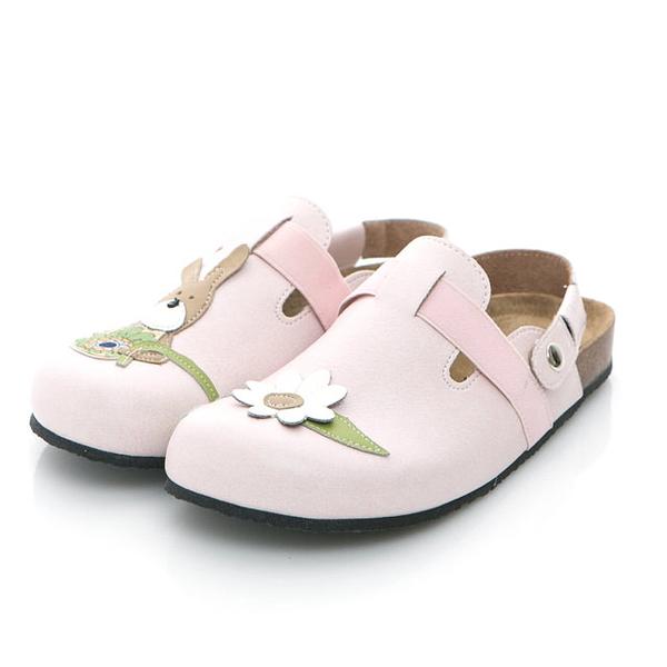 【Jingle】小兔遊花園前包後空軟木鞋(淡雅粉大人款)