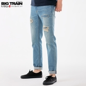 BigTrain純棉破壞補丁小直筒牛仔褲-男-藍-S~3L