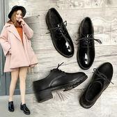 小皮鞋女春秋新款英倫學院風高跟粗跟單鞋