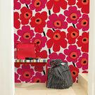 進口牆紙[marimekko] 70cm×10m/卷 罌粟花壁紙 花紋 紅色 北歐風牆紙 UNIKKO 13071