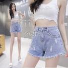 牛仔女短褲夏季新款破洞打鉆時尚淺色中高腰韓版寬鬆顯瘦A字熱褲