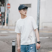 交換禮物 夏季日系清新長頸鹿印花短袖T恤男圓領水洗青年打底寬鬆體恤
