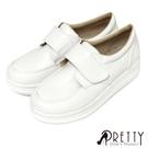 B-26289 寬版沾黏式厚底白色學生鞋...