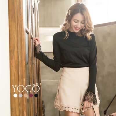 東京著衣【YOCO】簡約多色睫毛蕾絲長袖上衣-S.M.L(171934)