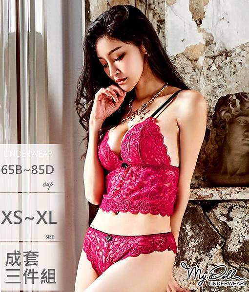 覬覦你的愛 歐系舒適無鋼圈成套內衣三件組 B~D (紅色/XS到XL適穿)MyDoll