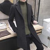 風衣男學生秋冬季韓版修身潮流毛呢大衣帥氣中長款厚呢子男士外套  初見居家