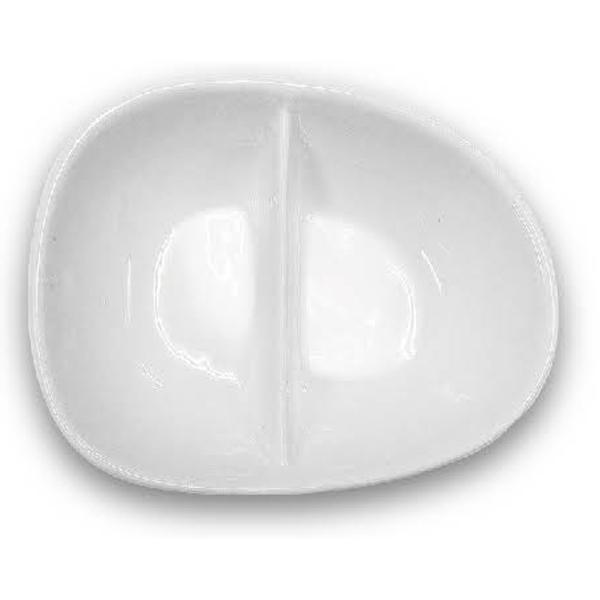【禹華企業】蛋型兩格碟 - 2格10.5x8.5cm 陶瓷皿 - 台灣品牌