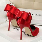 新款紅色新娘高跟鞋女性感百搭細跟結婚鞋一字扣尖頭單鞋    初語生活