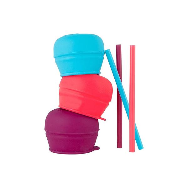 特價 boon 防漏杯蓋吸管三入組女孩(紅紫藍)_BN11150