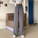 寬管褲 秋季黑色休閒褲子闊腿褲女高腰垂感顯瘦直筒寬鬆拖地長褲 晶彩 99免運