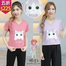 【五折價$225】糖罐子韓品‧a cat可愛貓咪印圖V領上衣→預購【E58523】