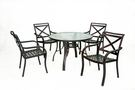 【南洋風休閒傢俱】戶外休閒桌椅系列 - 鋁合金玻璃圓桌椅組 戶外餐桌椅組 (A47A66 A18A01)