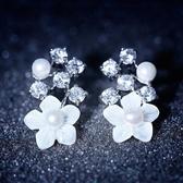 耳環 925純銀鑲鑽-珍珠花朵生日情人節禮物女耳飾73du19【時尚巴黎】