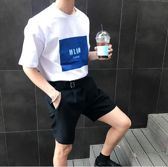 找到自己 MD 韓國 休閒 時尚 男 簡約 MLINM字母印花 圓領 短袖T恤 特色T恤 字母T
