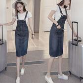 新款中長裙牛仔背帶裙女韓版洋裝高腰修身顯瘦吊帶裙潮
