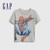 Gap男幼Gap x Marvel 漫威系列蜘蛛人棉質舒適圓領短袖T恤545143-亮麻灰色