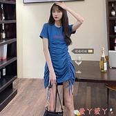T恤洋裝大碼2021夏季新款胖妹妹法式復古連身裙女抽繩設計感小眾T恤裙子 愛丫 新品