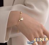 手鏈 愛心手鏈女圓珠小眾設計感輕奢高級感手環簡約桃心首飾【風鈴之家】