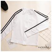 Catworld 圓領條紋袖短版運動外套【15003741】‧S-XL