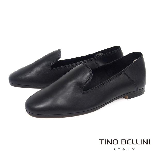 Tino Bellini義大利進口簡約輪廓牛皮樂福鞋_ 黑 A73001 歐洲進口款