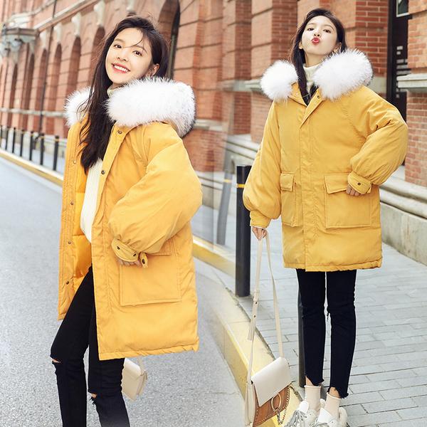 VK旗艦店 韓系桃皮絨棉服寬鬆毛領短版長袖單品上衣外套