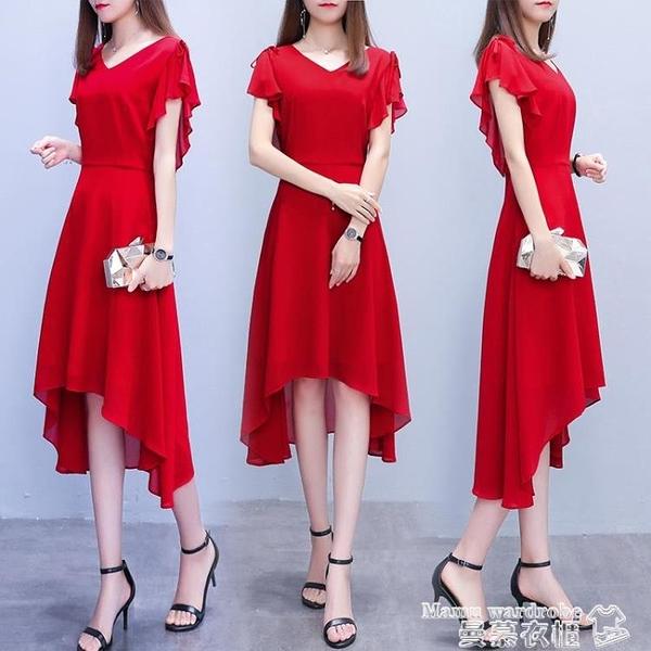 雪紡洋裝 純色連身裙2021夏新款女韓版中長款不規則氣質雪紡有女人味的裙子 曼慕