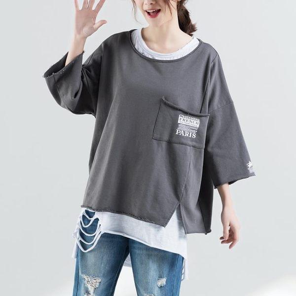 實拍9069#2018年夏季文藝大碼寬松口袋印花上衣T恤DS-1f-b01-1衣人有約