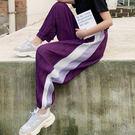 長褲 條紋 抓皺 雪紡 燈籠褲 縮口褲 運動 長褲 鬆緊腰 九分褲【YF731】 icoca  03/21