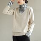 純棉拼接長袖針織衫 高領假兩件條紋套頭打底衫/4色-夢想家-0118