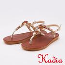 kadia.水鑽拼接寶石T字夾腳涼鞋(0111-25咖啡色)