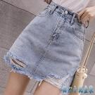 牛仔短裙女2020年新款春夏季外穿高腰a字白色包臀破洞半身裙 KP1701【甜心小妮童裝】