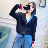 早秋新款寬鬆薄款韓版開衫V領冰絲針織衫女外套拼色長袖毛衣罩衫