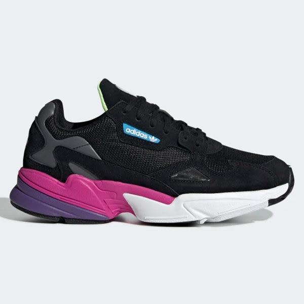 ADIDAS Falcon 女鞋 慢跑 休閒 老爹鞋 復古 黑 紫【運動世界】CG6219 | 休閒鞋 |