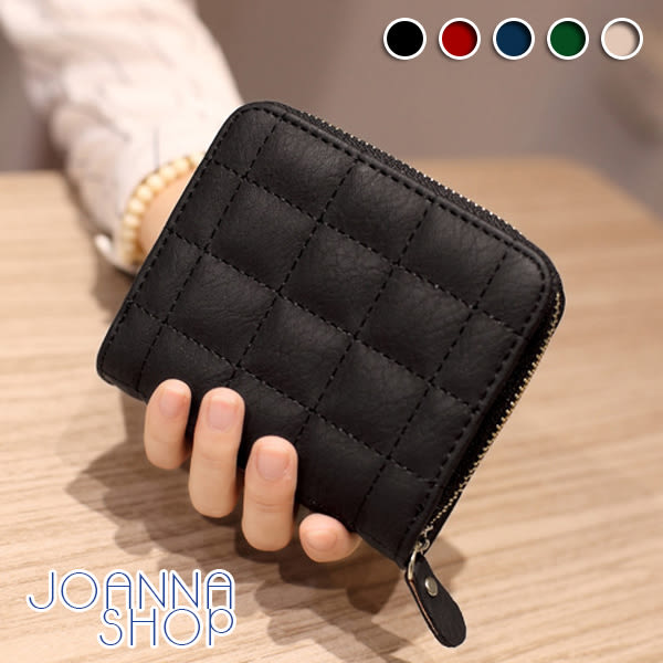 短夾 杜哈格紋車線短皮夾-Joanna Shop