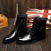 男短靴 男靴子 秋冬新款男靴男士男短款皮靴時尚潮流高幫男鞋馬丁靴《印象精品》q1284