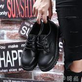 小皮鞋女加絨小皮鞋秋冬季新款單鞋韓版百搭i復古英倫風黑色學生鞋女 唯伊時尚