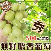 【果之蔬】美國加州綠寶石麝香無籽葡萄X1盒【每盒500克±10%】