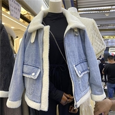 牛仔拼接水貂絨外套女2021冬季新款韓版寬鬆獺兔毛內膽加厚上衣潮 降價兩天