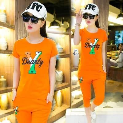 【PU15】夏季女新款運動服時尚印花休閒套裝修身短袖七分褲兩件套
