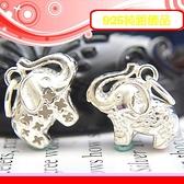 銀鏡DIY S925純銀配件/可愛Q版幸運大象D(雙面版-刻花&簍空)~適合手作蠶絲蠟線/幸運衝浪繩