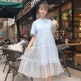 洋裝 裙子女夏2018新款潮韓版學生bf寬鬆吊帶超仙網紗拼接假兩件連身裙【一件免運】