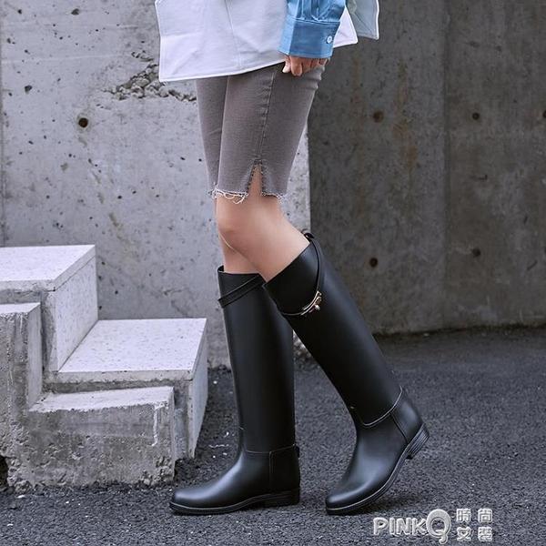夏季雨鞋女時尚款外穿馬靴雨靴高筒水靴長筒女士水鞋防水防滑套鞋 pinkQ 時尚女裝