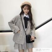 秋裝格子套裝女小個子兩件套洋氣韓版西裝外套學院風半身裙ins潮 韓慕精品