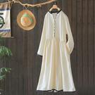新款純棉撞色氣質顯瘦長袖洋裝/設計家Q2...
