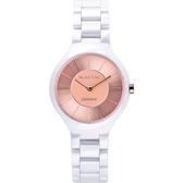 Relax Time RT33 嶄新系列陶瓷腕錶-玫瑰金x白/32mm RT-33-12L